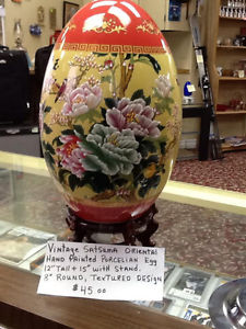 large satsuma oriental hand painted porcelain egg and stand