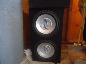 2x 400 watt subwoofers and 200 watt amp and mtx sub