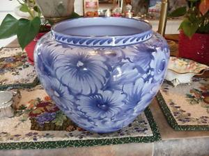 Lovely Large Blue And White Jardiniere Made In Portugal