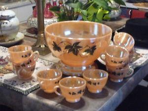 Lovely Large Vintage Punch Blow, Stand And 12 Punch Cups