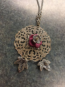 Silver tone and fuchsia flower long necklace