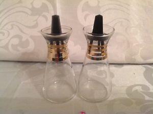 Vintage Pyrex Black & Gold Salt & Pepper Shakers