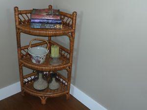 Wicker corner shelf unit