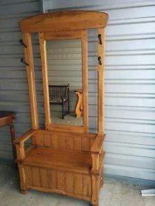 Beautiful Entrance/Hallway Solid Wood Storage/Hooks/Mirror
