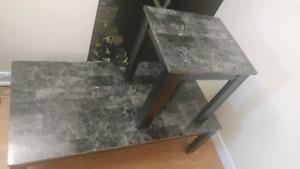 Black Marble Coffee table/ 2 end Tables