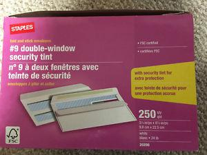 Box of 230 or more #9 double window security tint envelopes
