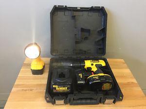 DeWalt 18V Cordless Drill and flashlight.