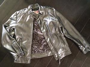 Faux leather silver jacket AND motorcycle jacket -- 7/8