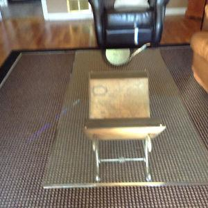 Glass top coffee table & 2 glass top end tables