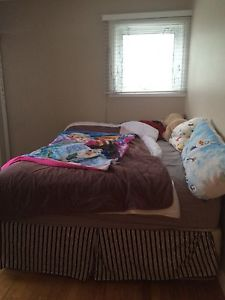 Queen Bed (Mattress, Box Spring, Bed Frame) + Night Stand