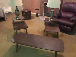 Retro Antique Coffee table and end tables with  lamps