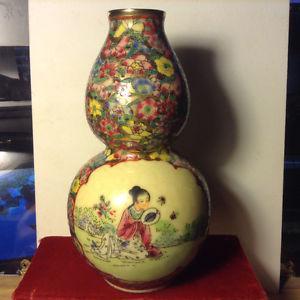 Vintage Chinese Decorated Vase Marked Jingdezhen Zhi