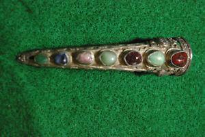 Vintage Silver Pierced/Hammered Conical Natural Gem Stone