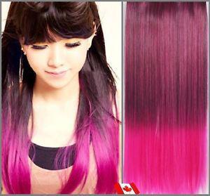 Clip in hair extension,Straight hair, cm, FUSCHIA
