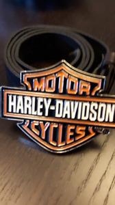 Harley Davidson belt buckle and genuine leather belt