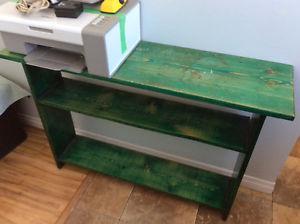 Homemade green shelf, round side table