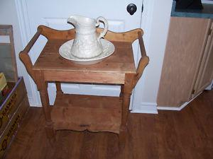 Antique Pine Wash Basin Stand With Pitcher and Basin