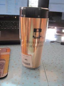Brand New Thermal Gold University of Manitoba Travel Mug