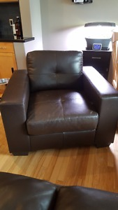 Couch / sofa, loveseat & chair set, brown leather