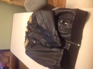 Ladies faux leather Bomber Jacket