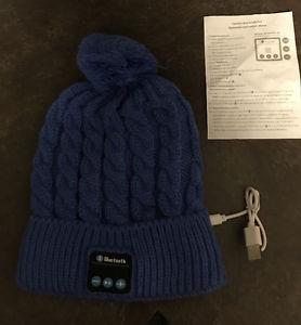 New blue wireless Bluetooth tuque hat headphones