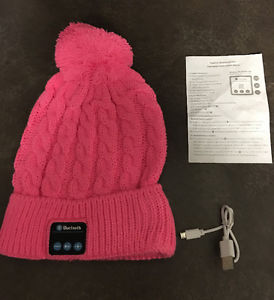 New pink wireless Bluetooth tuque hat headphones