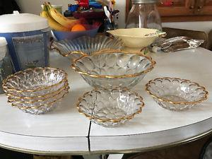 Vintage Dessert Bowl with 6 small bowls