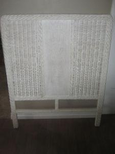 Vintage white wicker twin headboard - EUC - $30 OBO