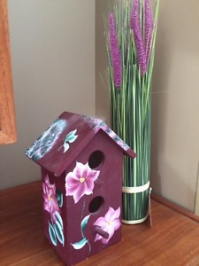 WOODEN BIRDHOUSE AND ARTIFICIAL LAVENDER - ALL FOR $10