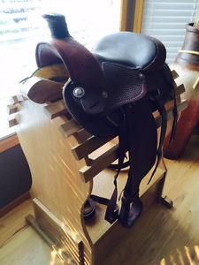 Western saddle with Oak stand.