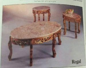 3 pces Marble Top Coffee Table Set