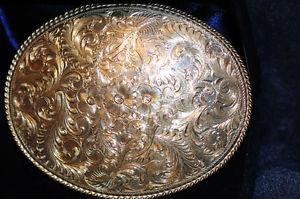Beautiful Hand Carved Pure Sterling Silver Western Belt