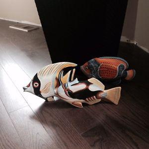 Decorative hand painted wood fish