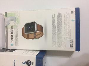 Fitbit Blaze w/ Rose Gold Face+Stap & Brown Leather strap