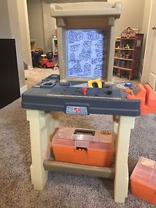 Home Depot tool bench and tools