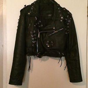 Ladies embroidered motorcycle jacket size medium