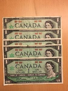 Lot of  Canada 100th Anniversary $1 Banknotes