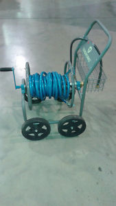 New Yardworks All Steel 4-Wheel Rolling Hose Cart with Hose