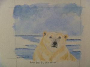 "Polar Bear By The Water - 4"" x 5"" ORIGINAL ART"