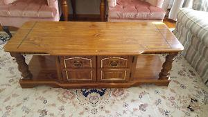 Solid wood coffee table with cupboard