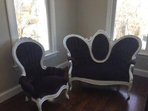 Vintage Antique Settee Sofa & Chair Set - newly