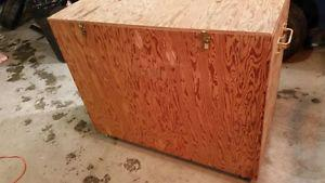 Wooden Storage Box on Wheels with Hinged Lid & Handles