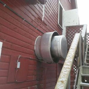 exhaust hood with fan and fire