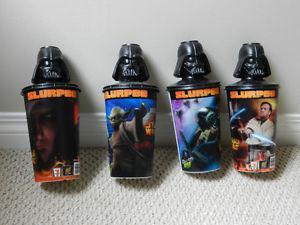 4 PIECES STAR WARS 7-11 HOLOGRAPHIC SLURPEE CUPS DARTH VADER