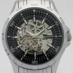 Elgin Men's Skeleton Stainless Steel Automatic Watch fg