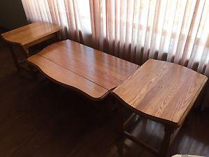 3 Pc Oak coffee and end table set.