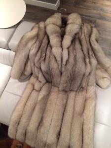Beautiful Silver Fox Fur Coat
