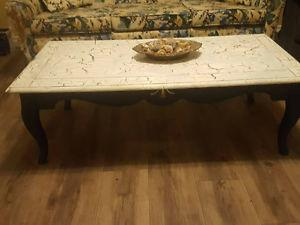 Coffee and end table - reshinised, antqued, with crackle