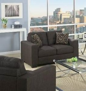 Deluxe love seat, grey fabric, includes 2 throw pillows,