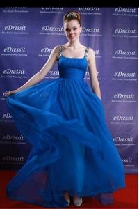 Floor Length Blue Prom Dress